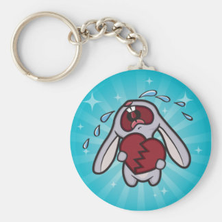 Broken Hearted Bunny with Blue Sunburst Keychain