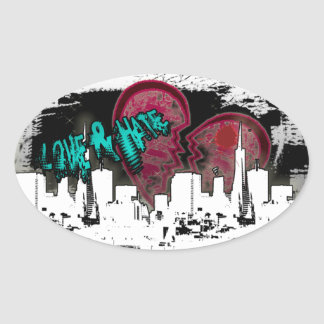 Broken Hearted Love and Hate City Living Sticker