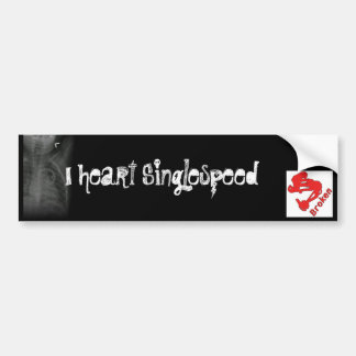 Broken I heart Singlespeed Bumper Sticker