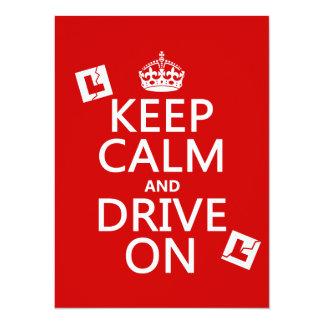 Broken L-Plates Keep Calm and Drive On 14 Cm X 19 Cm Invitation Card