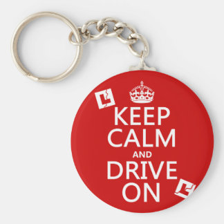 Broken L-Plates Keep Calm and Drive On Basic Round Button Key Ring