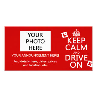 Broken L-Plates Keep Calm and Drive On Picture Card