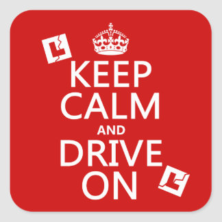 Broken L-Plates Keep Calm and Drive On Square Sticker