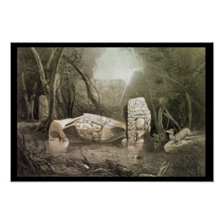 Broken Mayan idol at Copan, Guatemala Poster