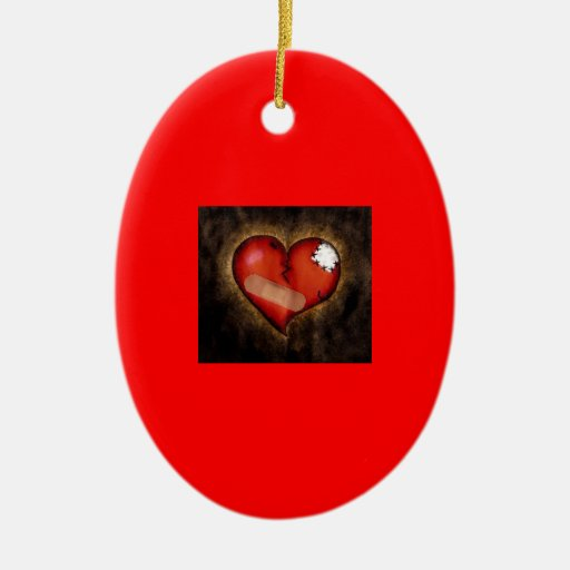 Broken/Mending Heart-ornament Ceramic Oval Decoration