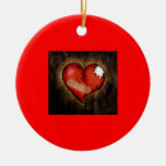 Broken/Mending Heart-ornament Round Ceramic Decoration