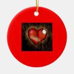 Broken/Mending Heart-ornament Round Ceramic Decoration
