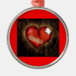 Broken/Mending Heart-ornament Silver-Colored Round Decoration
