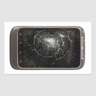 Broken Mobile Phone Rectangular Sticker