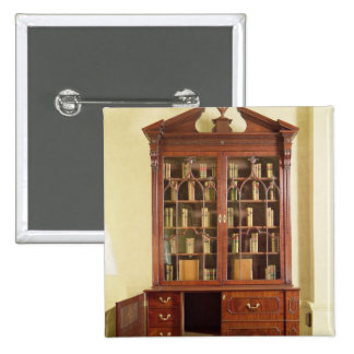 Broken pedimented bureau bookcase 15 cm square badge