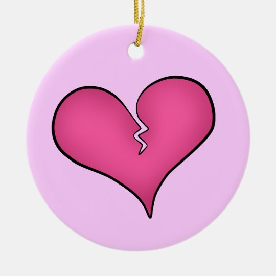 Broken pink heart anti Valentine's day Christmas Ornament