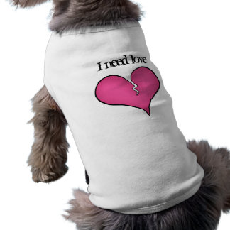 Broken pink heart anti Valentine's day for dogs Sleeveless Dog Shirt