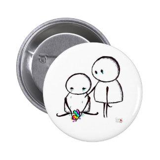 Broken Rainbow Heart 6 Cm Round Badge