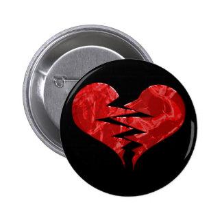 Broken red heart 6 cm round badge