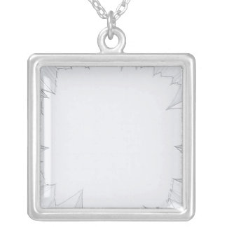 Broken Shattered Glass Square Pendant Necklace