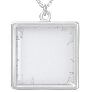 Broken Shattered Glass Square Pendant Necklace