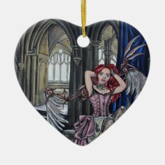 broken steampunk fairy art ceramic heart decoration