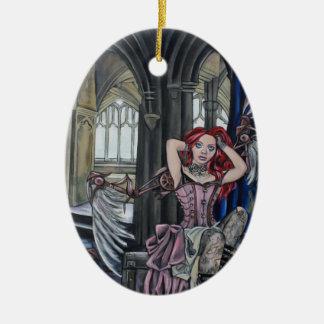 broken steampunk fairy art ceramic oval decoration