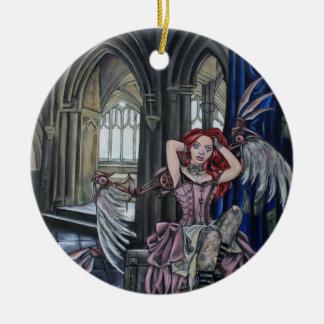 broken steampunk fairy art round ceramic decoration