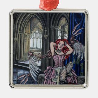 broken steampunk fairy art Silver-Colored square decoration