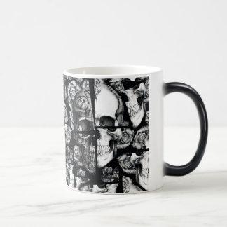 Broken up, fractured images of rose skull. coffee mugs