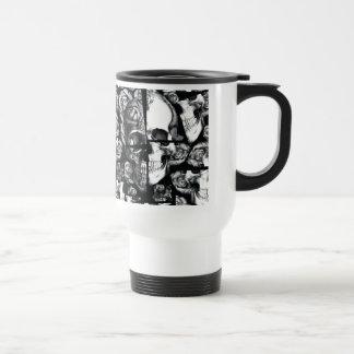 Broken up, fractured images of rose skull. mug