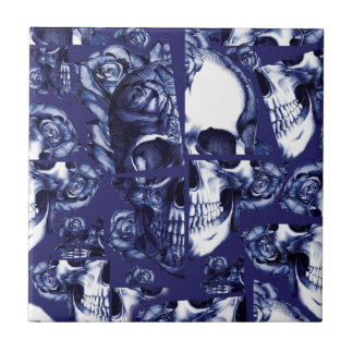 Broken up navy and white rose skulls tile