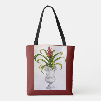 Bromeliad in silver cup tote bag