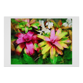 Bromeliad, Oil painting, Tropical Collection Poster