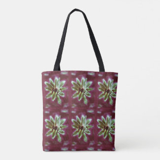 Bromeliad Plant, burgundy tote bag