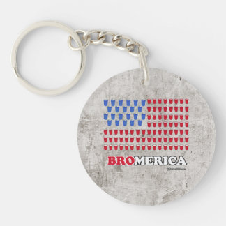 Bromerica - Red White and Brew Single-Sided Round Acrylic Keychain