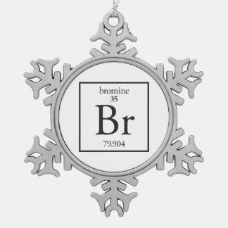Bromine Snowflake Pewter Christmas Ornament