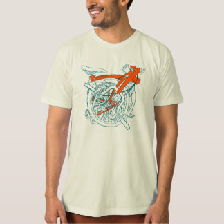 Brompton bicycle T-shirt, blue and orange. T-Shirt