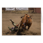 Bronc Rider Takes a Fall Greeting Cards