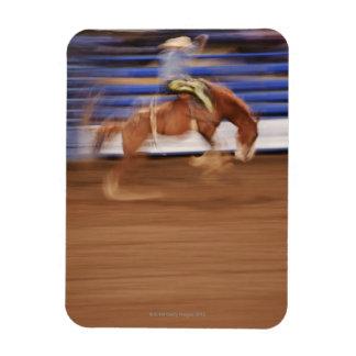 Bronco riding rectangular photo magnet