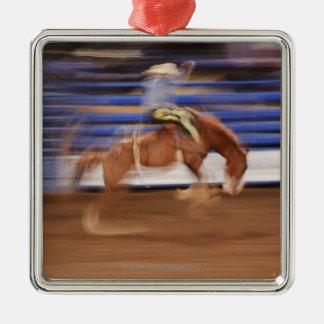 Bronco riding Silver-Colored square decoration