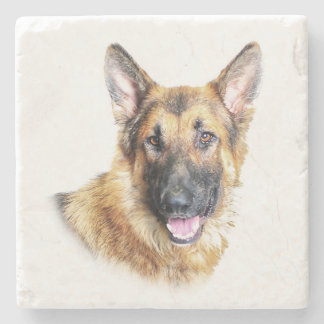 Bronson the German Shepherd marble coaster Stone Beverage Coaster