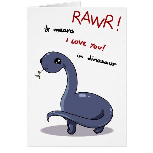 brontosaurus rawr means I love you Greeting Card