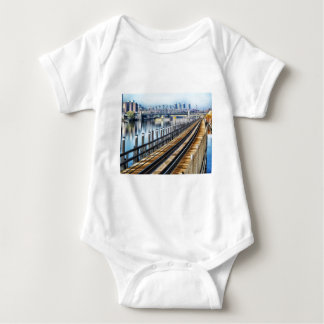 bronx new york city buildings river baby bodysuit