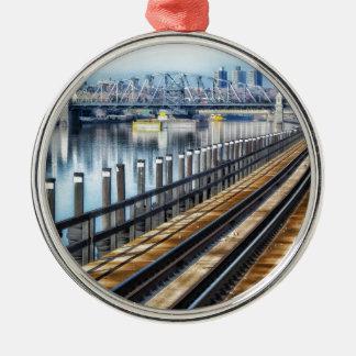 bronx new york city buildings river christmas ornament