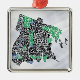 Bronx New York City Typography Map Christmas Ornament