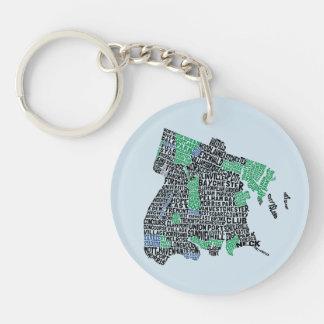 Bronx New York City Typography Map Keyring Double-Sided Round Acrylic Key Ring