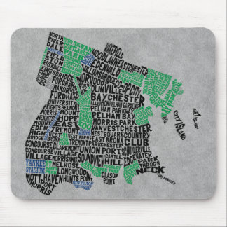 Bronx New York City Typography Map Mouse Mat