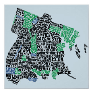 Bronx New York City Typography Map Poster