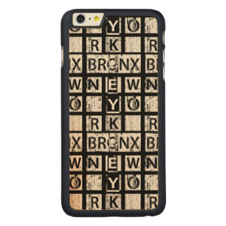 Bronx New York | Grunge Typography Carved Maple iPhone 6 Plus Case