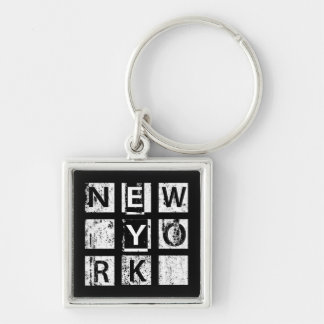 Bronx New York | Grunge Typography Silver-Colored Square Key Ring