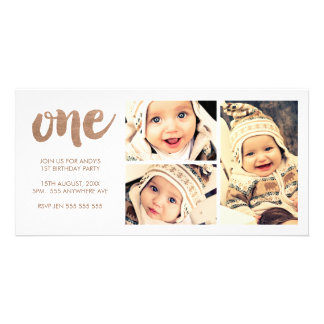 Bronze 1ST Birthday White 3 Frame Photocard Photo Greeting Card