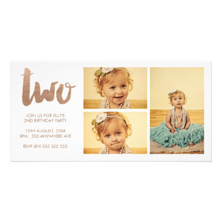 Bronze 2nd Birthday White 3 Frame Photocard Photo Card