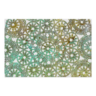 bronze and green abstract lace design cutout poster