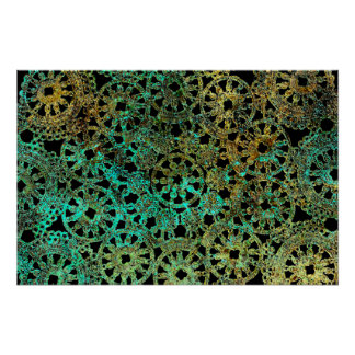 bronze and green abstract lace design poster